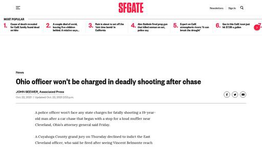 Ohio officer won't be charged in deadly shooting after chase Screenshot