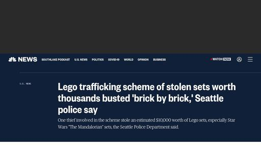 Lego trafficking scheme of stolen sets worth thousands busted 'brick by brick,' Seattle police say Screenshot