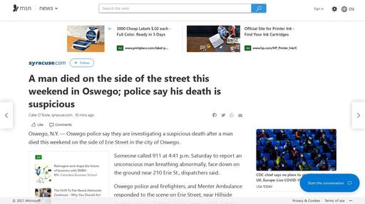 A man died on the side of the street this weekend in Oswego; police say his death is suspicious Screenshot