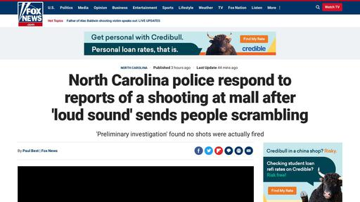 North Carolina police respond to reports of a shooting at mall after 'loud sound' sends people scrambling Screenshot