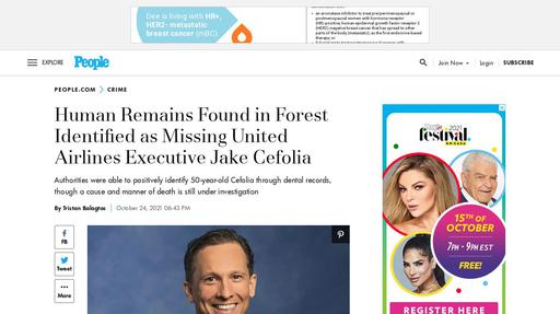 Human Remains Found in Forest Identified as Missing United Airlines Executive Jake Cefolia Screenshot
