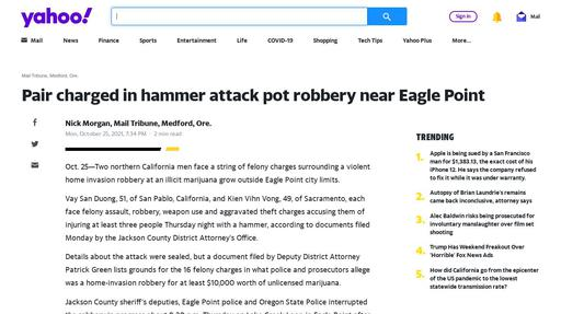 Pair charged in hammer attack pot robbery near Eagle Point Screenshot