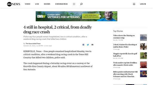 4 still in hospital, 2 critical, from deadly drag race crash Screenshot