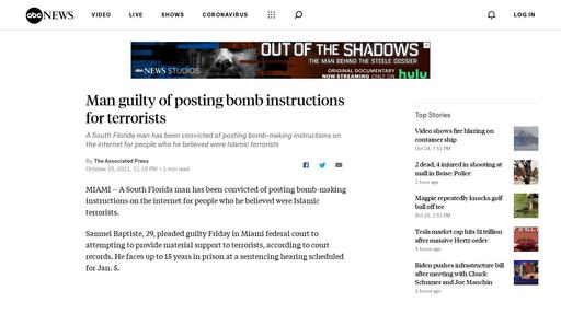 Man guilty of posting bomb instructions for terrorists Screenshot