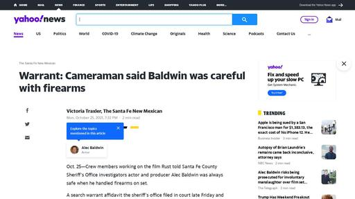 Warrant: Cameraman said Baldwin was careful with firearms Screenshot