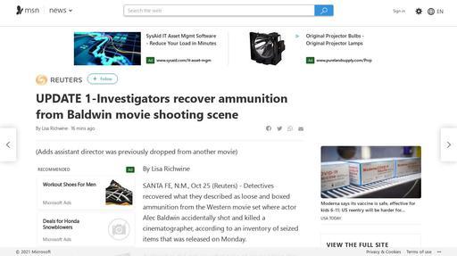 UPDATE 1-Investigators recover ammunition from Baldwin movie shooting scene Screenshot