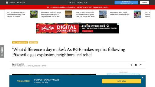 'What difference a day makes': As BGE makes repairs following Pikesville gas explosion ... Screenshot