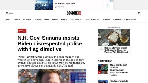 N.H. Gov. Sununu insists Biden disrespected police with flag directive Screenshot